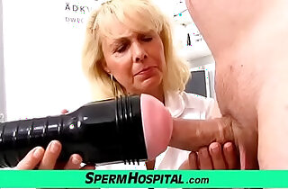 Blonde lady doctor Koko old with her young CFNM exam and handjob in top ladies videos