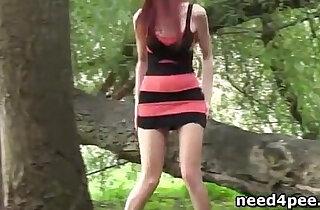 Nice girls outdoor hidden pee