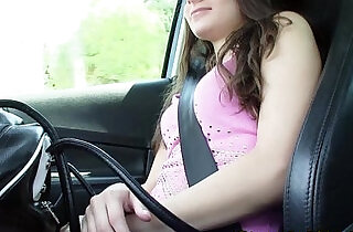 Hitch hiking brunette flashes small tits