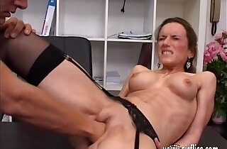 Horny brunette milf fisted ass fucked and jizzed in her face