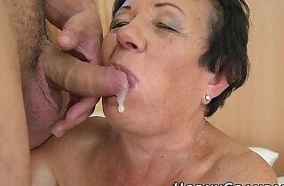 Smaltits granny cum mouth