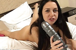 Anal queen Isabella riding a huge anal dildo