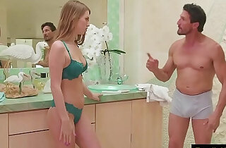 Stepdad getting nuru massage from his hot skinny daughter family sex