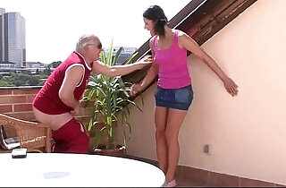 Boyfriends horny dad takes her pussy
