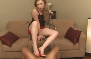 Shoejobs Paraphilia Mistress T Cum Dripping Off Red Shoes in top mistresses videos