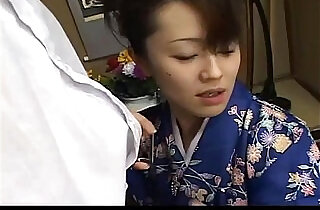 Mai Satsuki is a great geisha in a kimono that satisfys both of her businessmen