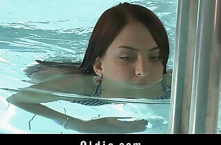 Sweet redhead sucking old cock at the pool in top slim videos