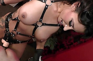 Tangent femdom paddling and anal domination of male slave