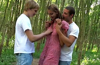 Amazing anal threesome outdoors