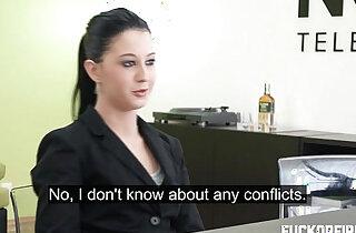 Teeny brunette sucks and fucks sucks her boss