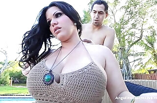Big titted angelina castro blows the pool guy outdoors