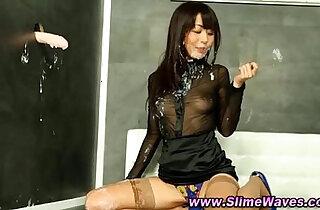 Asian fetish slut gets bukkake slime