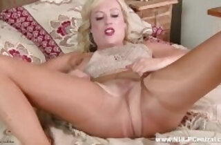 Filthy horny blonde Axa finger fucks her wet pussy in torn nylon pantyhose