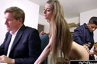 Sneaky skinny bastard fucks bosss wife and daughter tarra white leyla morgan