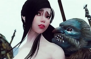 Sexy enchantress and mage caught and gangbanged by monsters Skyrim Hentai