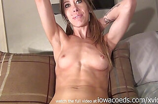 hot first with amateur nervously using pink dildo in her iowa apartment